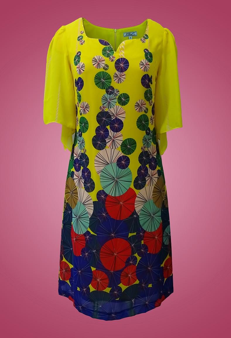 Đầm chiffon cổ vuông