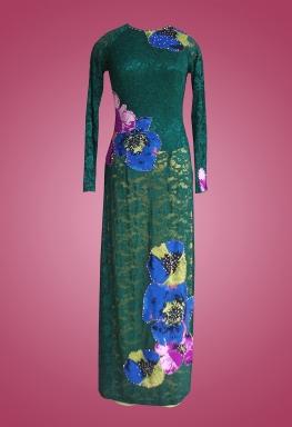 Áo dài ren xanh rêu cổ tròn